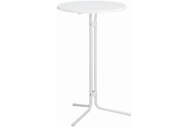 MFG Stehbiertisch, Stahlrohrgestell mit weißer Sevelittplatte, Ø 70 x H 110