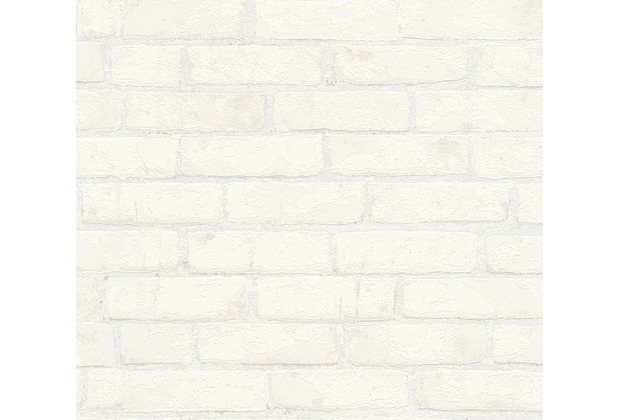 Michalsky Living Mustertapete in Backsteinoptik High Rise Vliestapete metallic weiß 10,05 m x 0,53 m