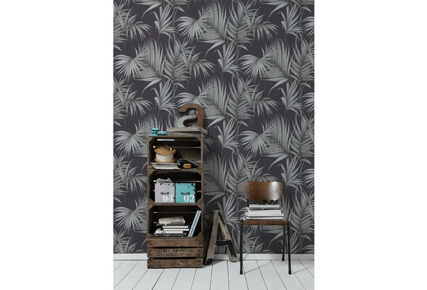 Michalsky Living Vliestapete Dream Again Tapete mit Palmenprint in Dschungel Optik schwarz grau 10,05 m x 0,53 m