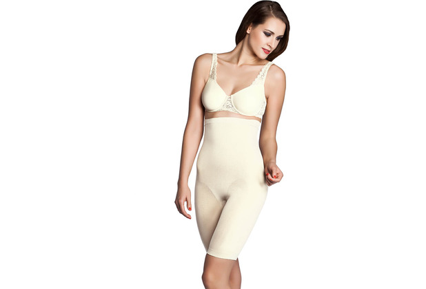 Miss Perfect Miederhose Body Shaper Bauchweg Unterhose Bodyshaper nahtlos & formend Champagner L (42)