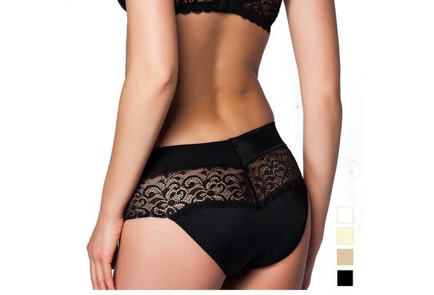 Miss Perfect Minimizer Rioslip Slip Spitze Unterhose Hipster Panty Hüftslip Schwarz S (38)