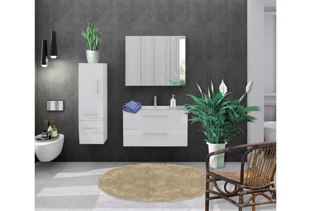 Möbilia Badezimmer Set 90 cm, 3 tlg. weiß Hochglanz 15020005