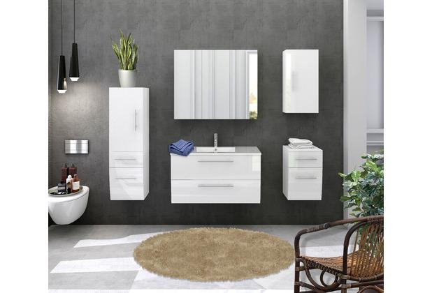 Möbilia Badezimmer Set 90 cm, 5 tlg. weiß Hochglanz 15020009