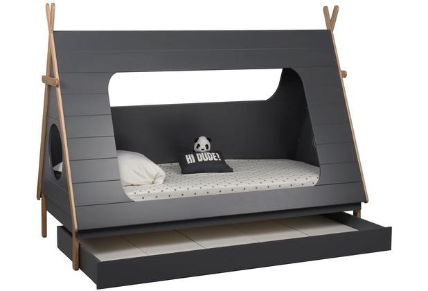 Möbilia Bett für Kinder grau, natur 12020015