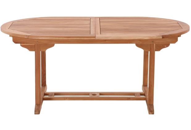 Möbilia Gartentisch, 180x100 cm oval, ausziehbar, Teak natur 11020017