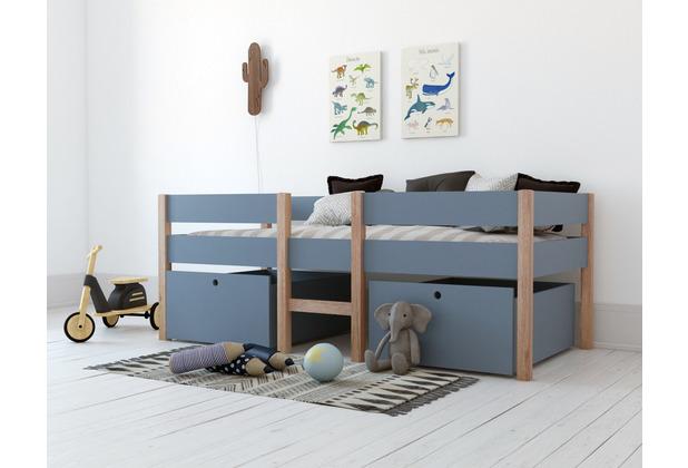 Möbilia Hochbett für Kinder Pinie, MDF blau, natur 12020030