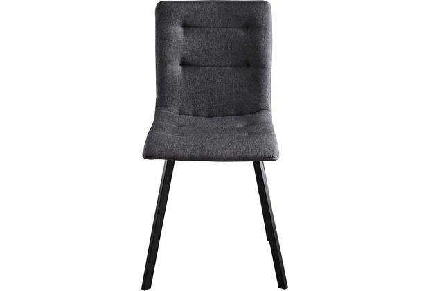 Möbilia Stuhl, 2er-Set Bezug dunkelgrau, Beine schwarz 18020003