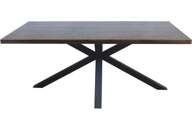 Möbilia Tisch 180x90 cm Platte Nussbaum-Dekor, Gestell matt schwarz 17020006