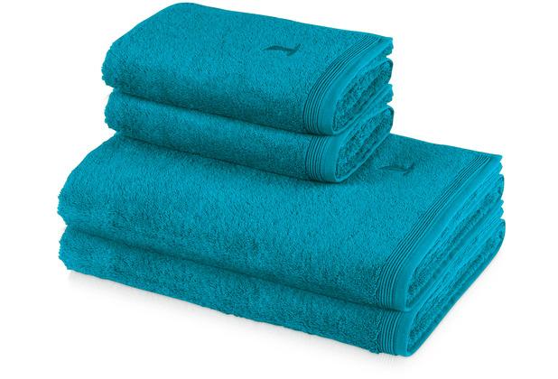 möve 4er Handtuch Set Superwuschel, 2x Handtuch 50 x 100 cm & 2x Duschtuch 80 x 150 cm lagoon