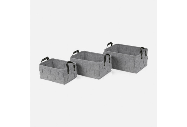 "möve Korb 3er Set ""Grey Flannel\"" light grey 40 x 30 x 18 cm"