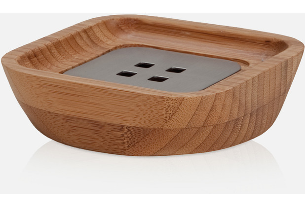 möve Seifenschale BAMBOO SQUARE wood/stainless steel 10x10x3cm