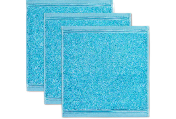 möve Seiftuch Superwuschel 3er-Pack turquoise 30 x 30 cm
