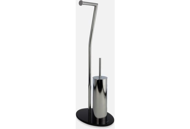 möve Toilettenbürsten-Set Stand stainless steel/black 28x20x71,5cm