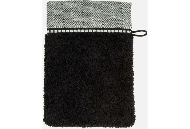 möve Waschhandschuh Brooklyn black 20 x 15 cm