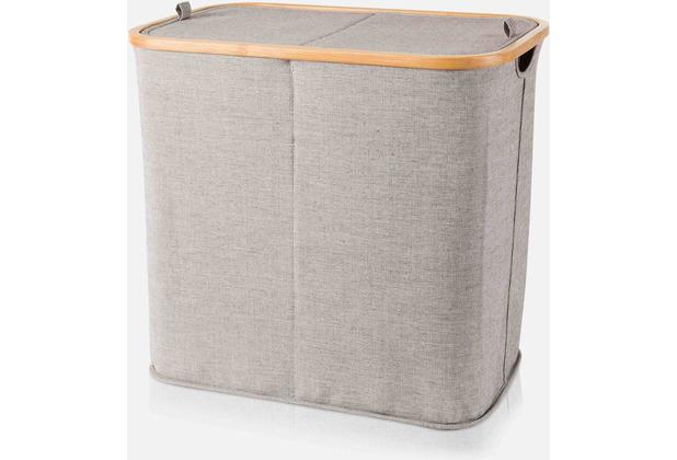 möve Zweigeteilte Wäschetruhe, Bamboo grey 54x33x50cm