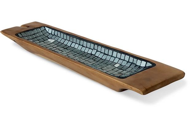 Niehoff Dekoschüssel MOSAIK 60x14x5cm Teak geschliffen innen mit Glas-Mosaik-Einlage silber koloriert