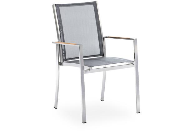 Niehoff Garden Armlehnenstuhl TINA Sitz und Rücken Textilene silbergrau 49x91x58cm