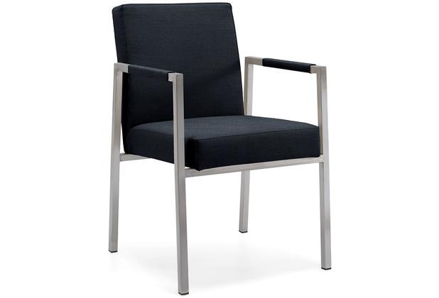 Niehoff Garden Armlehnstuhl NED Sitz und Rücken gepolstert anthrazit Gestell Edelstahl gebüerstet 63,5x87x55cm