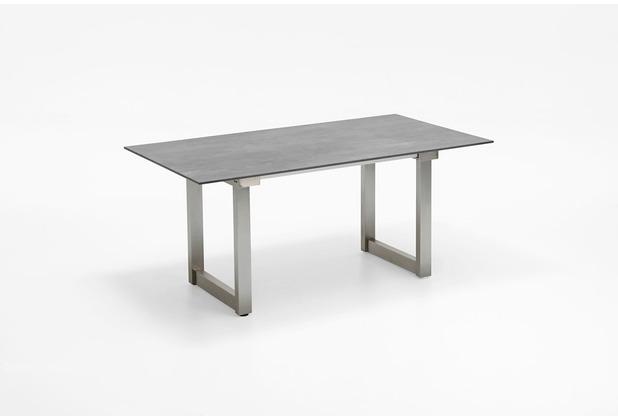 Niehoff Garden Ausziehtisch NANDO Tischplatte HPL Beton 1Klappeinlage 100cm Edelstahl gebürstet 180(280)x95 / 76cm