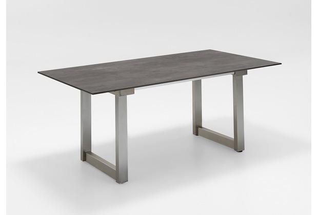 Niehoff Garden Ausziehtisch NANDO Tischplatte HPL Granit 1Klappeinlage 100cm Edelstahl gebürstet 180(280)x95 / 76cm
