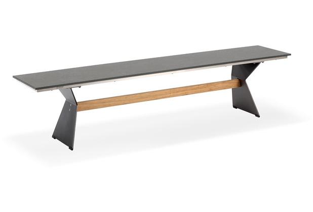 Niehoff Garden Bank NERO Sitzfläche HPL Granit Gestell Winkelwange schwarz mit Steg in Teak 200x40 / 46cm