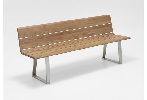 Niehoff Garden Bank NOVA mit Rückenlehne, Teak massiv recycelt Gestell Profilkufe Edelstahl gebürstet 180x89x52 / 49cm