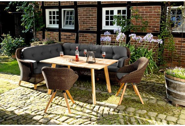 Niehoff Garden Dining-Lounge NIZZA langer Schenkel links Geflecht Viro red pine + Kissen Bezug Sunproof Copacabana
