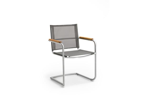 Niehoff Garden Schwingstuhl NATHALIE Sitz und Rücken Batyline silbergrau, Armlehnen Teak geölt 55x85x57cm