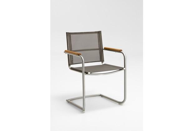 Niehoff Garden Schwingstuhl NATHALIE Sitz und Rücken Batyline taupe, Armlehnen Teak geölt 55x85x57cm