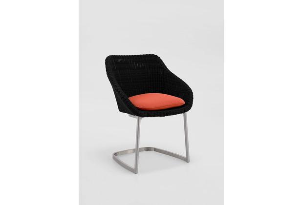 Niehoff Garden Stuhl NIZZA Sitzschale Viro geflecht black Gestell Edelstahl gebürstet 64x80x62cm