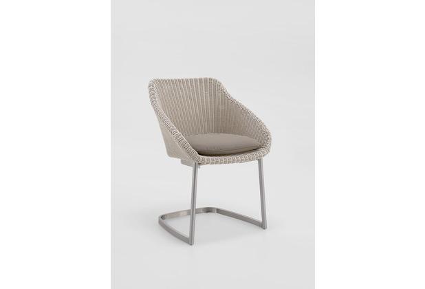Niehoff Garden Stuhl NIZZA Sitzschale Viro geflecht white washed Gestell Edelstahl gebürstet 64x80x62cm