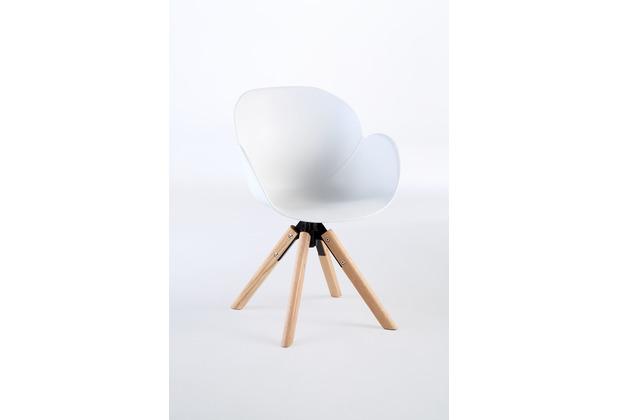 Niehoff Garden Stuhl SUSHI Sitzschale Kunststoff weiss Gestell 4 Fuß Stativ, Teak massiv 59x84x59cm