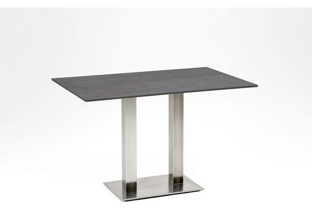 Niehoff Garden Tisch BISTRO Tischplatte HPL Beton Untergestell Edelstahl Doppelprofilsäule 140x95 / 76cm