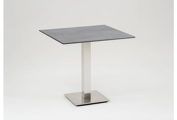 Niehoff Garden Tisch BISTRO Tischplatte quadratisch Beton Untergestell Edelstahl Profilsäule 125 / 76cm
