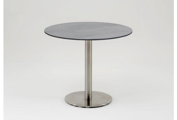 Niehoff Garden Tisch BISTRO Tischplatte rund HPL Beton Untergestell Edelstahl Profilsäule 125 / 76cm