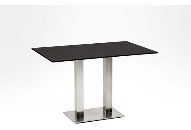 Niehoff Garden Tisch BISTRO Tischplatte HPL Granit Untergestell Edelstahl Doppelprofilsäule 140x95 / 76cm
