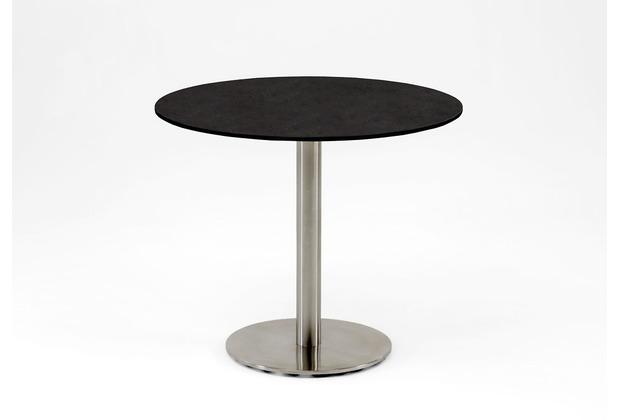 Niehoff Garden Tisch BISTRO runde Tischplatte HPL Granit Untergestell Edelstahl Profilsäule 125 / 76cm