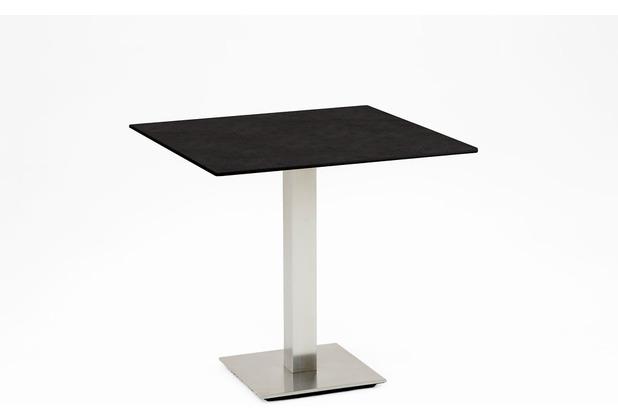 Niehoff Garden Tisch BISTRO Tischplatte (Quadrat) HPL Granit Untergestell Edelstahl Profilsäule 70 / 76cm