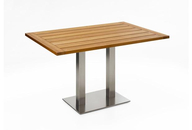 Niehoff Garden Tisch BISTRO Tischplatte Teak massiv geölt Untergestell Edelstahl Doppelprofilsäule 140x95 / 76cm
