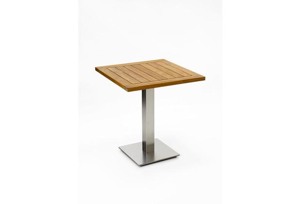 Niehoff Garden Tisch BISTRO Tischplatte Teak massiv geölt Untergestell Edelstahl Profilsäule 81x81 / 76cm