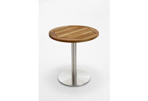 Niehoff Garden Tisch BISTRO Tischplatte Teak massiv geölt Untergestell Edelstahl Profilsäule 95 / 76cm