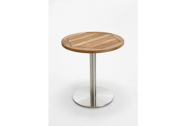 Niehoff Garden Tisch BISTRO Tischplatte Teak massiv recycelt Untergestell Edelstahl Profilsäule 70 / 76cm