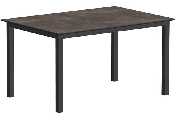 Niehoff Garden Tisch NELSON HPL Beton Gestell 4-Fuss mit Zargen Aluminium pulverbeschichtet anthrazit 141x95 / 76cm