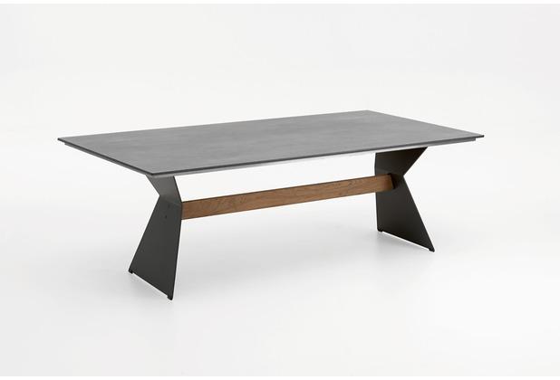 Niehoff Garden Tisch NERO Tischplatte HPL Beton Gestell Winkelwange anthrazit mit Teaksteg 160x95 / 76cm