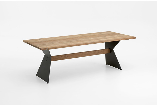 Niehoff Garden Tisch NERO Tischplatte Teak massiv recyceld Gestell Winkelwange mit Steg in Teak 200x95 / 76cm