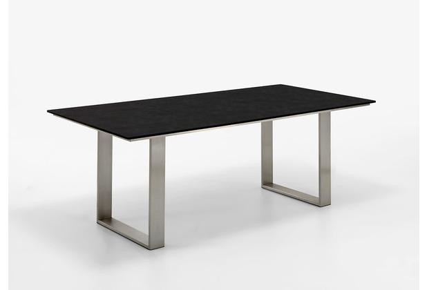 Niehoff Garden Tisch NOAH Tischplatte HPL Granit Gestell Profilkufe Edelstahl 180x95 / 76cm