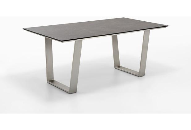 Niehoff Garden Tisch NOAH Tischplatte HPL Granit Gestell Trapezkufe Edelstahl 180x95 / 76cm