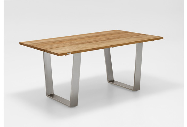Niehoff Garden Tisch NOAH Tischplatte Teak massiv gebürstet Gestell Trapezkufe Edelstahl 180x95 / 76cm