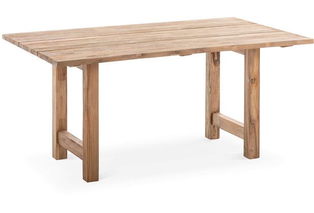 Niehoff Garden Tisch UNIT Tischplatte 1 tlg, aufgedoppelt 30+30mm, Teak massiv recycelt Werkbankgestell 160x95/76cm
