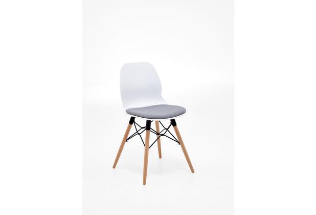 Niehoff Schalenstuhl ROBIN 4-Fussgestell Buche Sitzschale Kunststoff white mit Sitzpad in grau